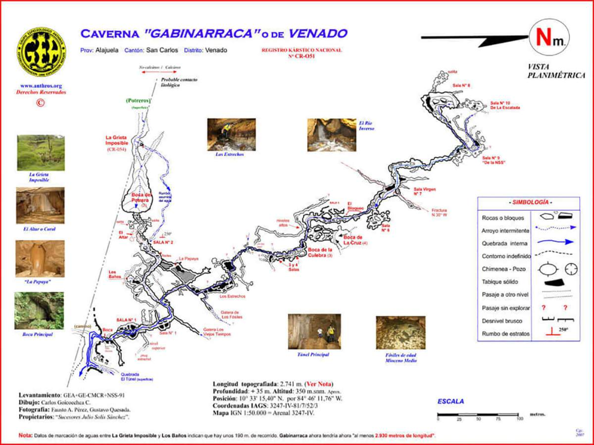 Map of the Venado Caves (Caverna Gabinarraca in Spanish) near La Fortuna and Mount Arenal in Costa Rica