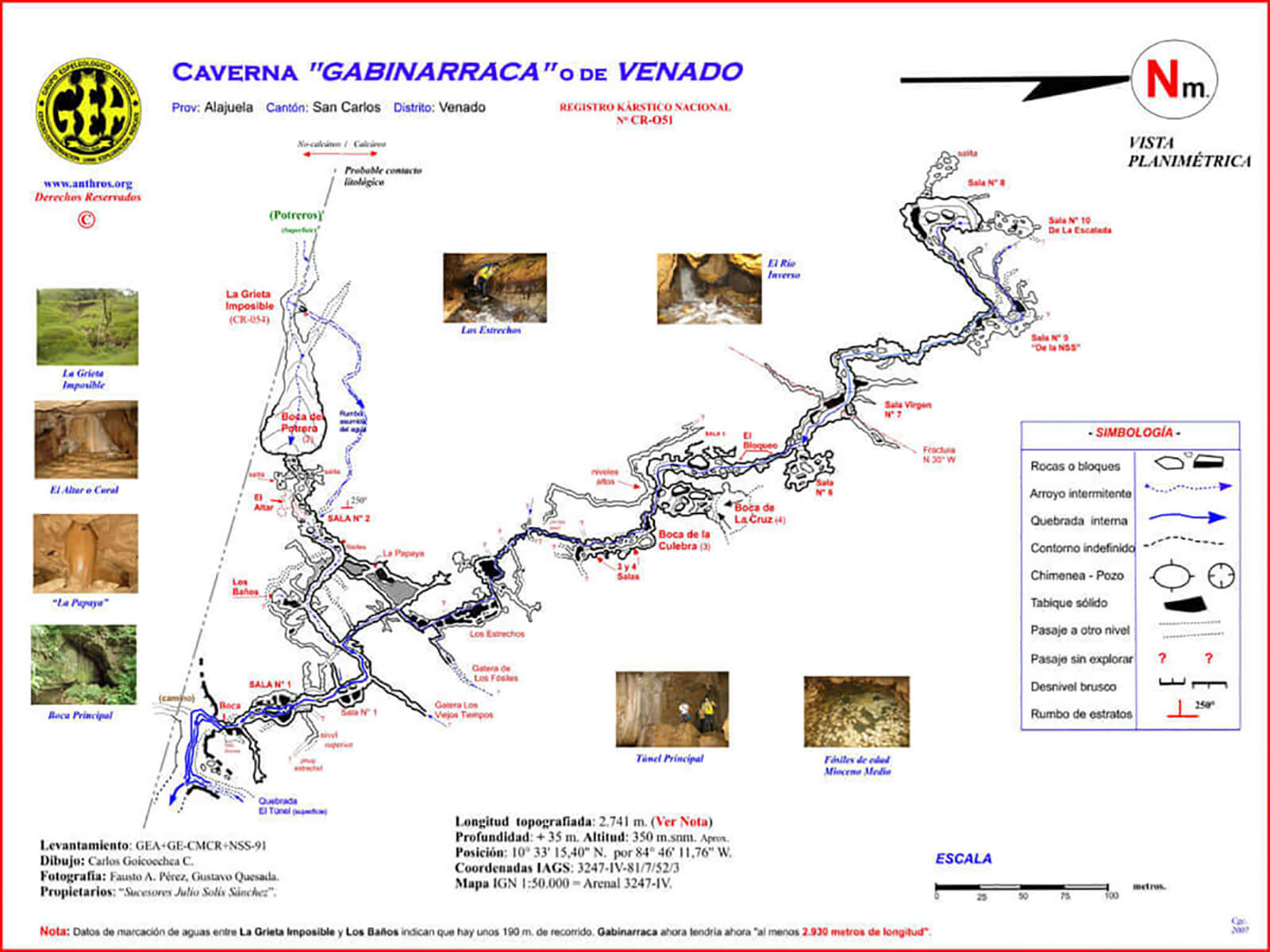 Map of the Venado Caves (Caverna Gabinarraca in Spanish) near La Fortuna and Mount Arenal in Costa Rica