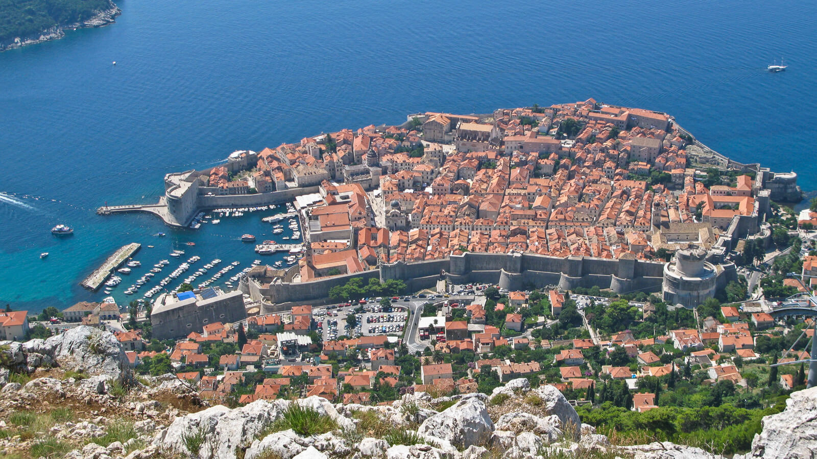 Sky high view of the old town of Dubrovnik, Croatia