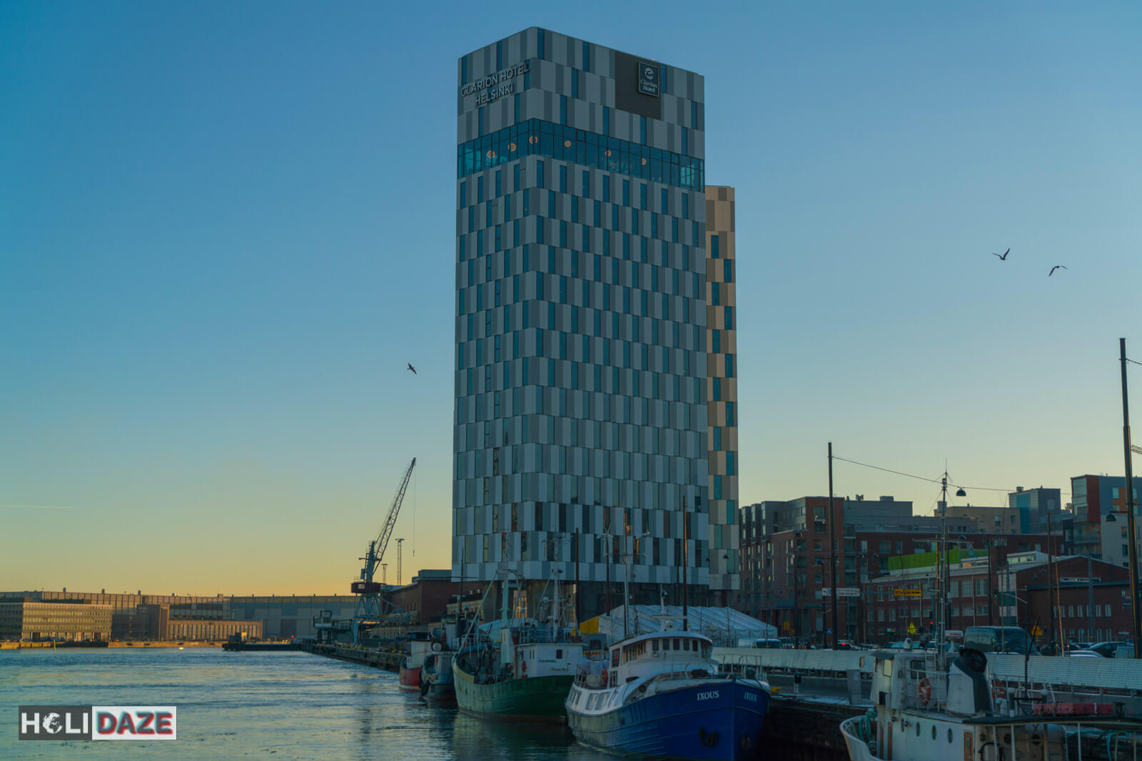 Clarion Hotel in Helsinki, Finland during the wintertime afternoon sunset