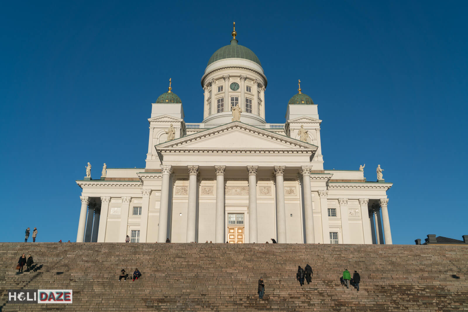 Helsinki Cathedral in Finland on a bright sunny day with perfectly blue sky