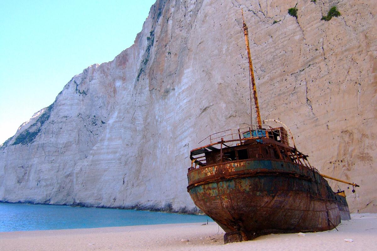 The iconic Navagio Beach (aka Shipwreck Cove) in Greece
