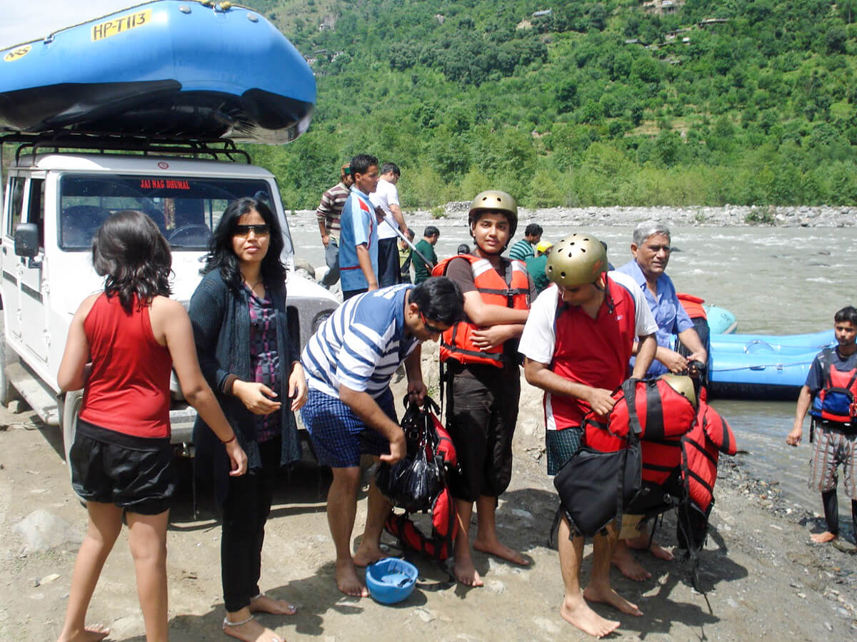 Getting ready for rafting in the mountains around the Manali Valley in northern India