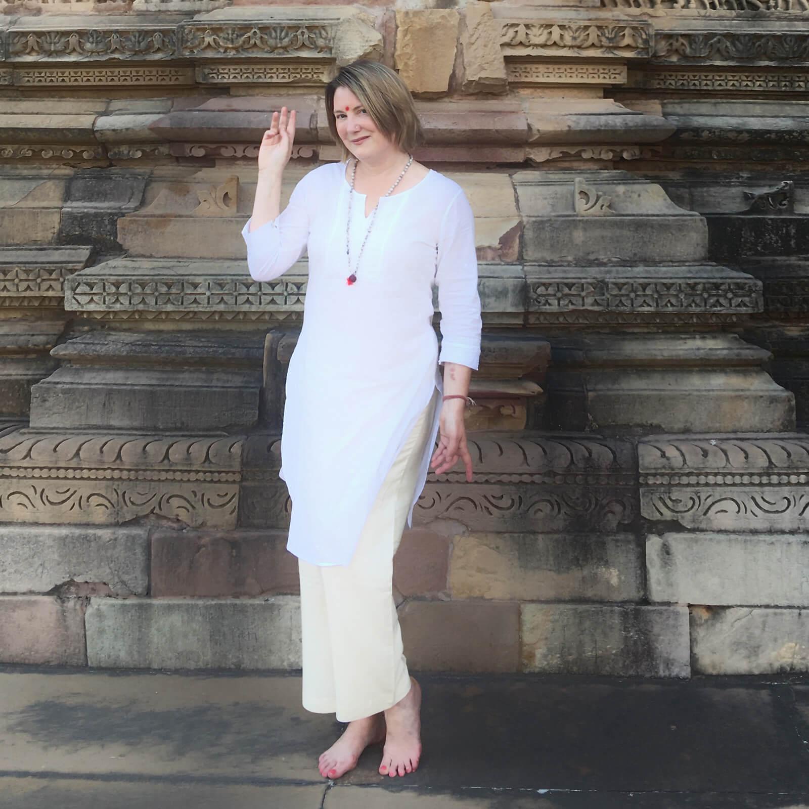 Mariellen Ward exploring the Khajuraho temples