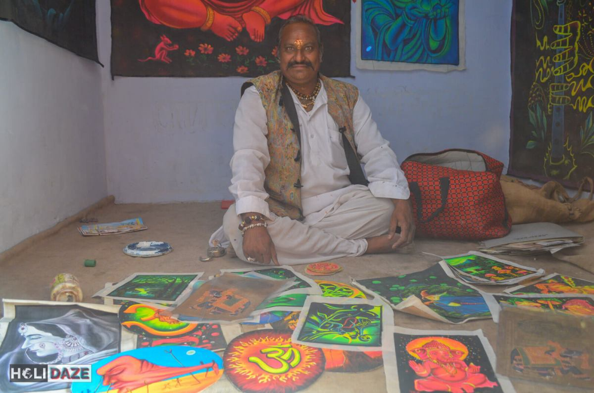 The head priest of this small temple in Pushkar, India is also an amazing psychedelic artist