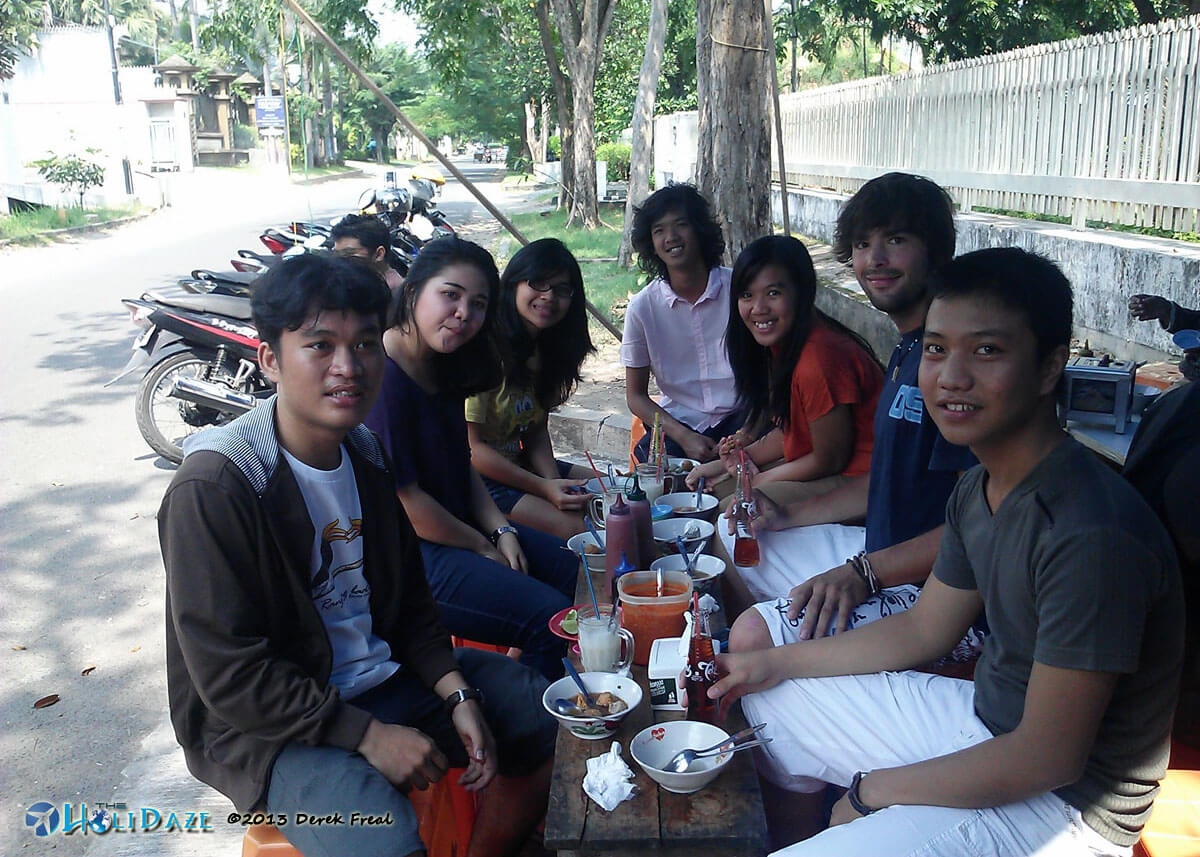 Bakso on the street in Surabya, Indonesia with a group of new friends from Twitter and Couchsurfing