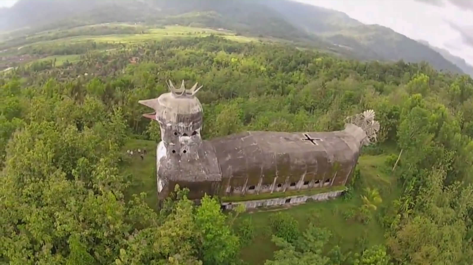 Aerial view of the Chicken Church of Magelang, one of the unique and offbeat destinations in Indonesia