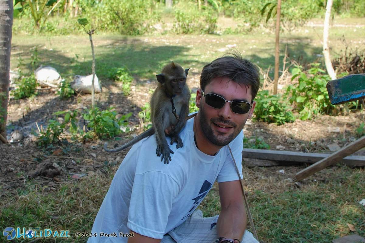 Derek with the Namaste Monkey of Nusa Penida, Indonesia