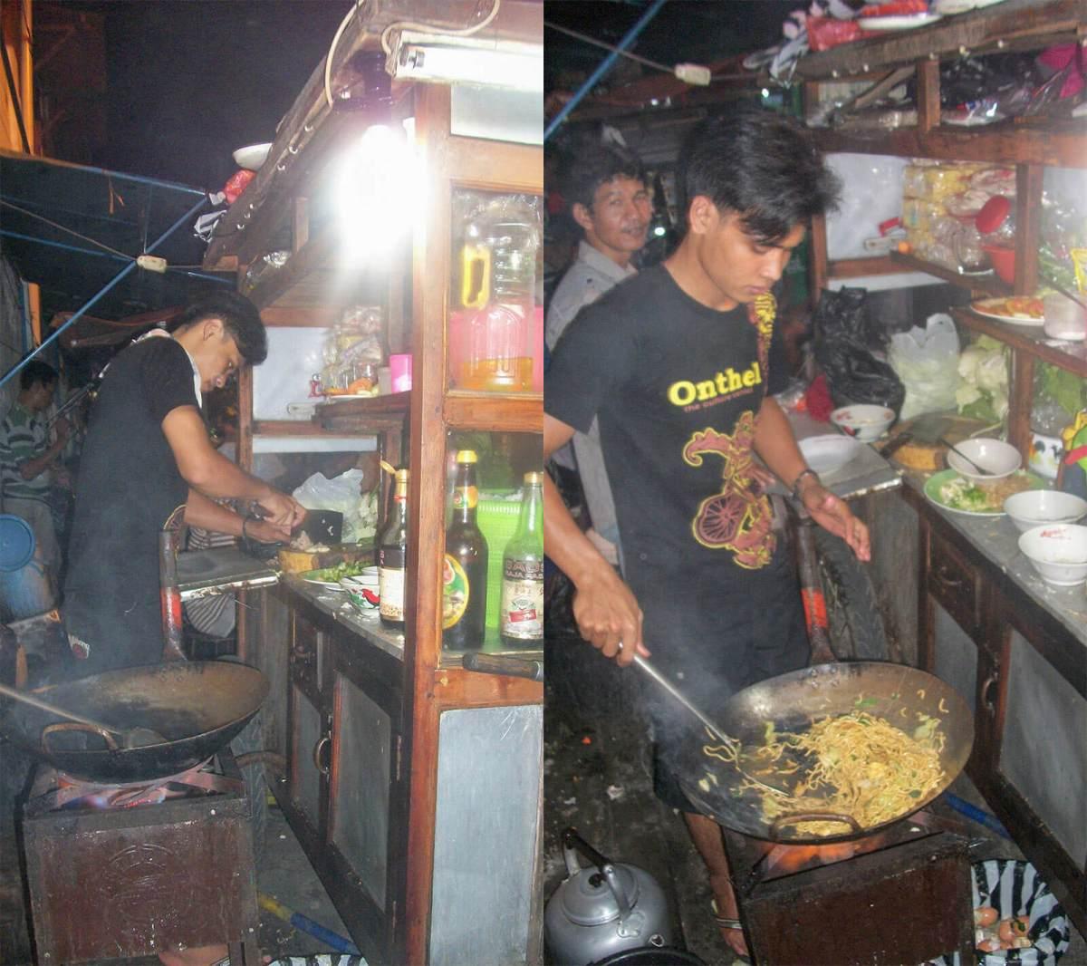 Indonesian street food chef in Yogyakarta making mie goreng ayam
