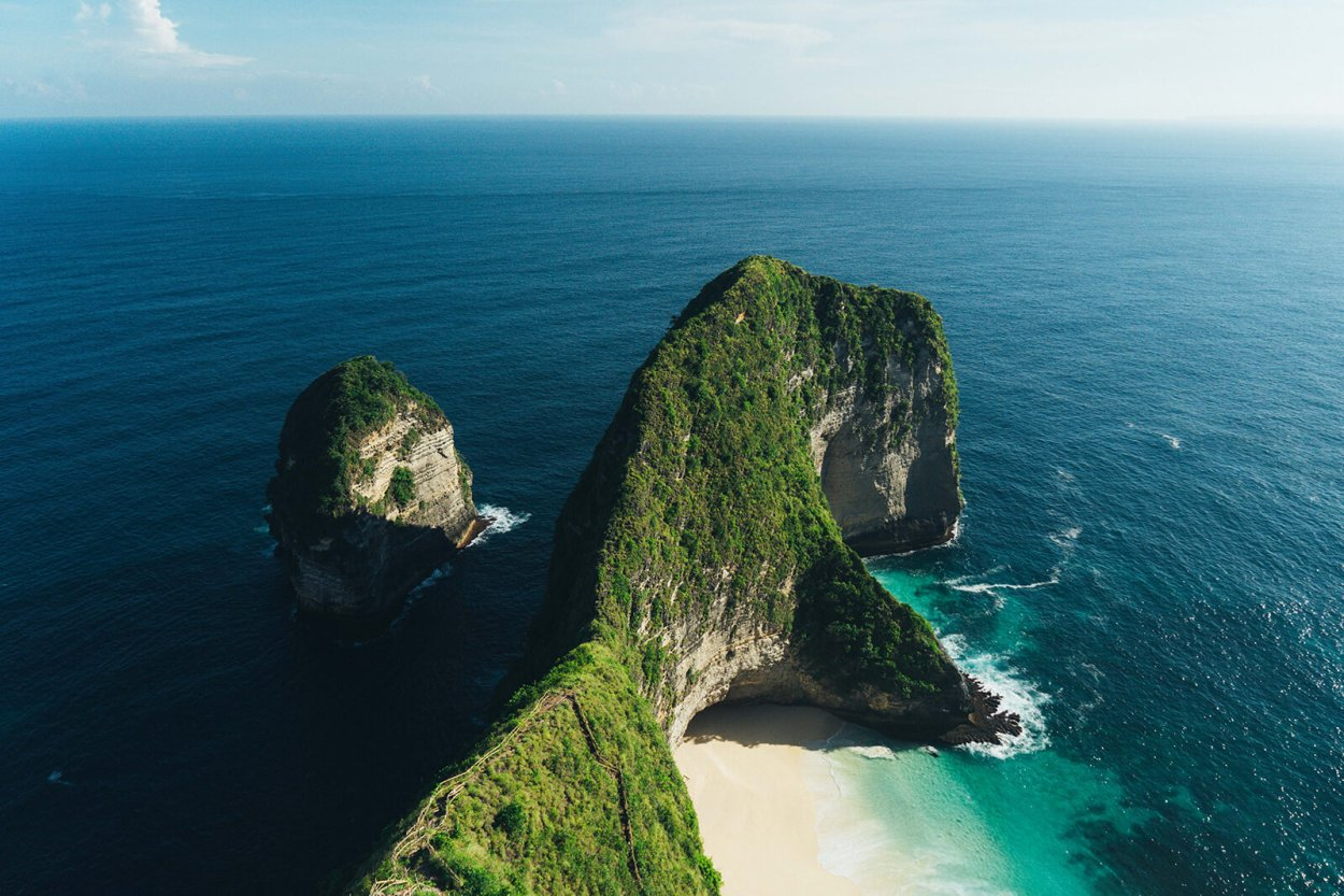 Drone view of the deserted Kelingking Beach on Nusa Penida in Indonesia