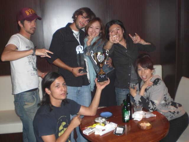 Drinking with friends at a darts bar in the Ebisu ward of Tokyo, Japan