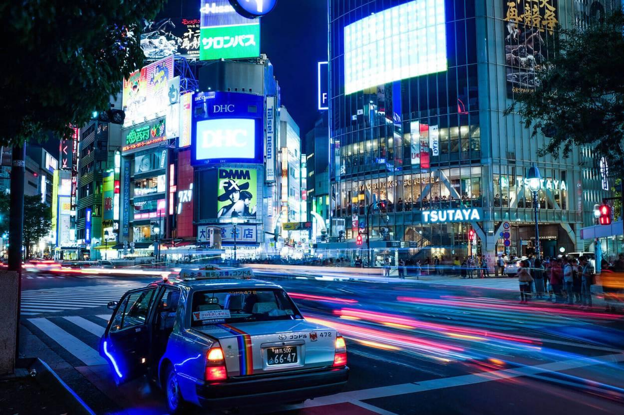 Nighttime in Shibuya, Tokyo, Japan
