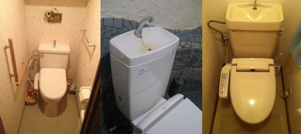 Toilets with built-in sinks found in apartments and restaurants throughout Tokyo