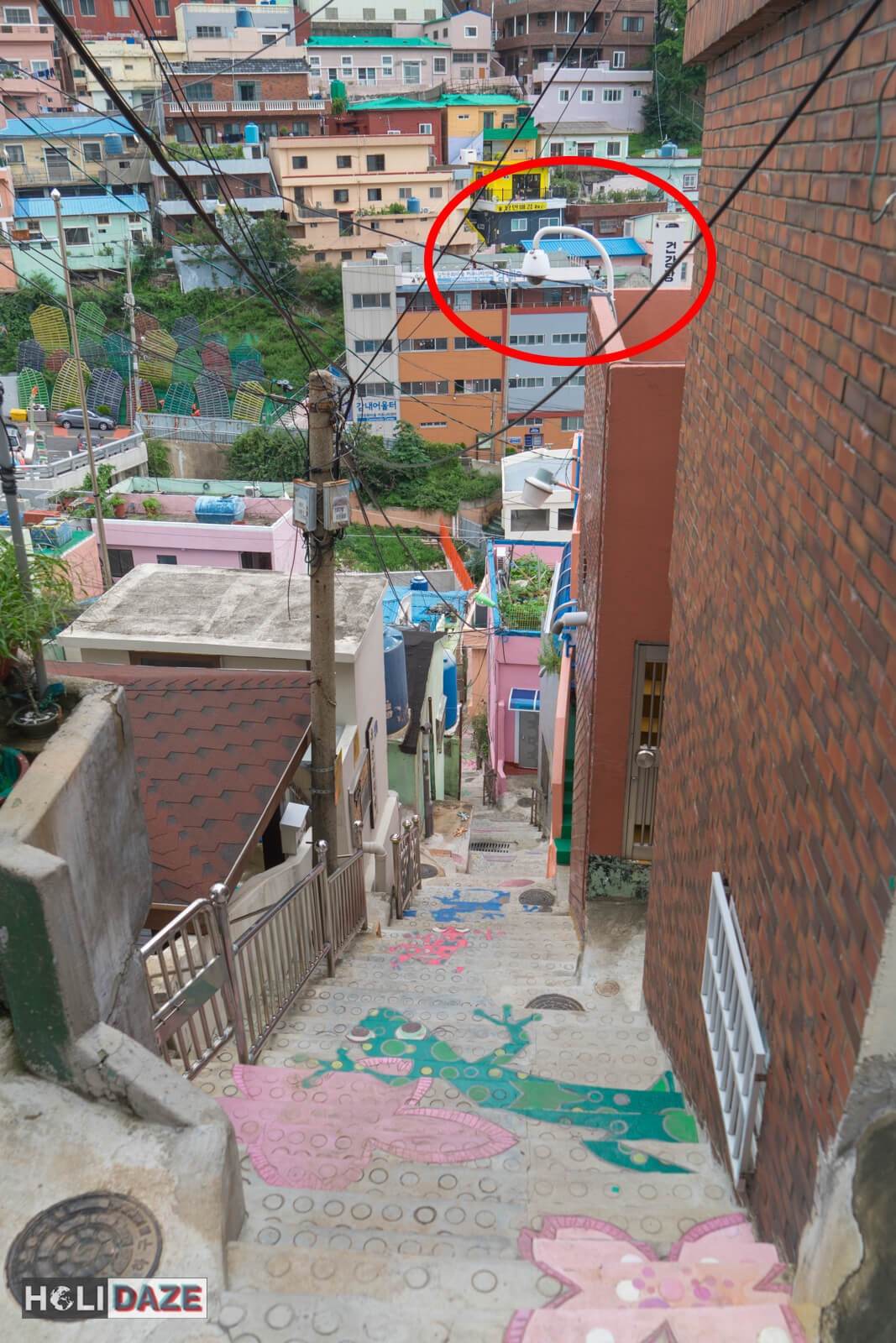 Security cameras at the Stair To See Stars in Gamcheon Culture Village, Busan, South Korea