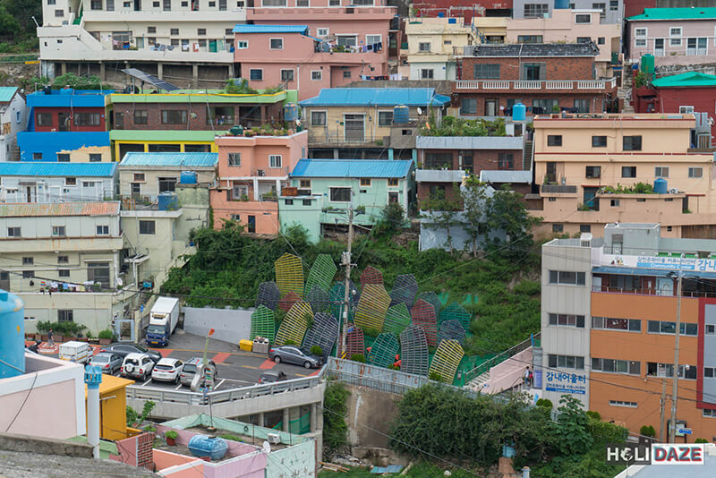 View of the Wriggling Village with Gamcheon Culture Village in the background