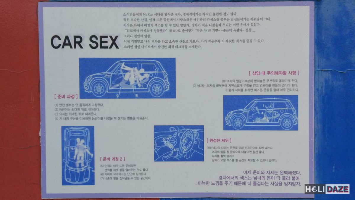 Car sex how-to guide at the Love Castle sex museum in Gyeongju, South Korea
