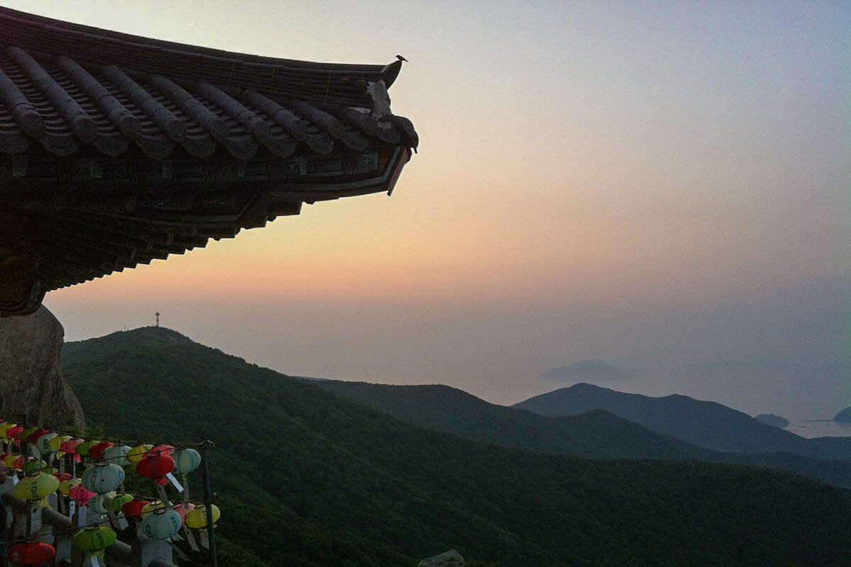Sunrise at Boriam Temple in Namhae Island, South Korea