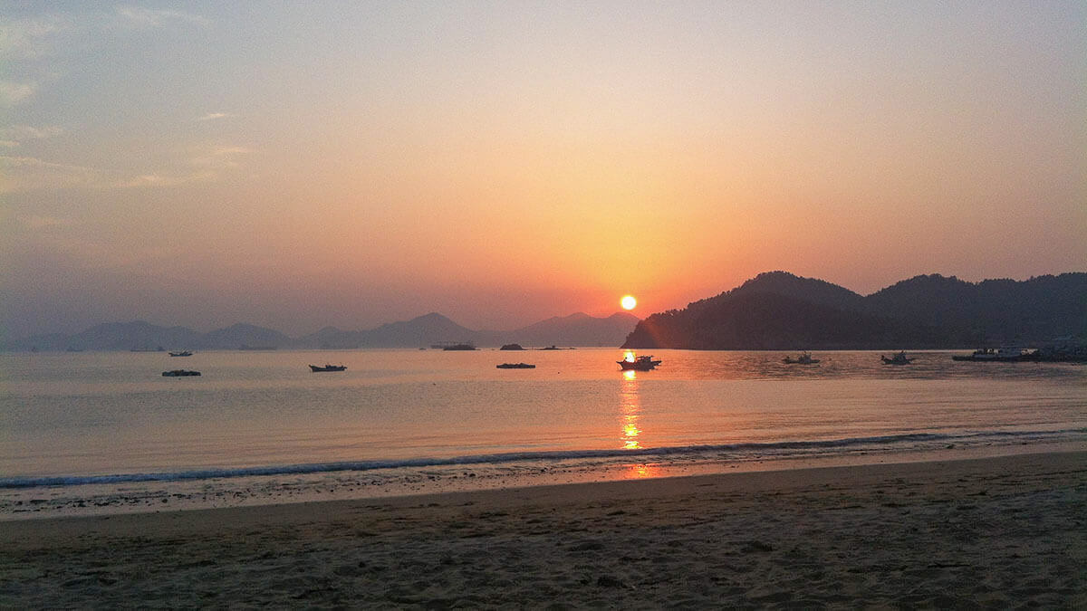 Sunset at Sachon Beach in Namhae Island, South Korea