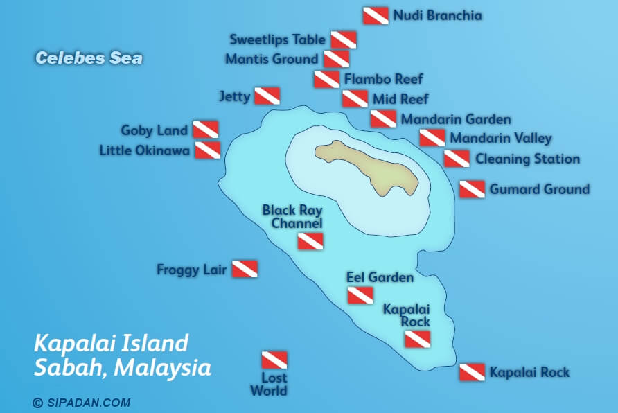 Kapalai Island has many different scuba diving locations, all shown on the dive spot map -- just not the resort