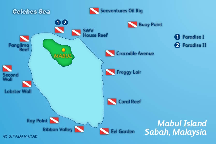 Mabul Island has many different scuba diving locations -- this map shows all the dive spots