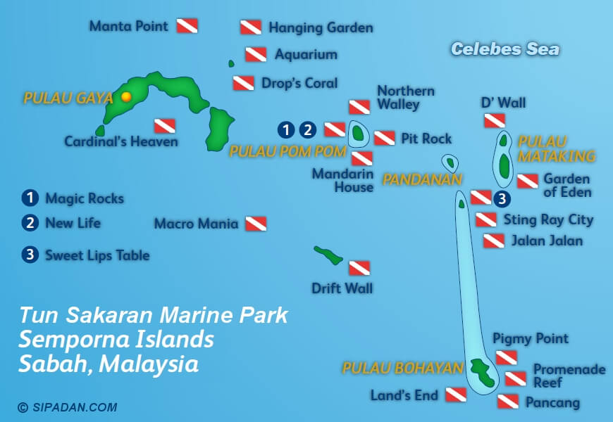 Tun Sakaran Marine Park has many different islands and scuba diving locations -- this map shows all the dive spots
