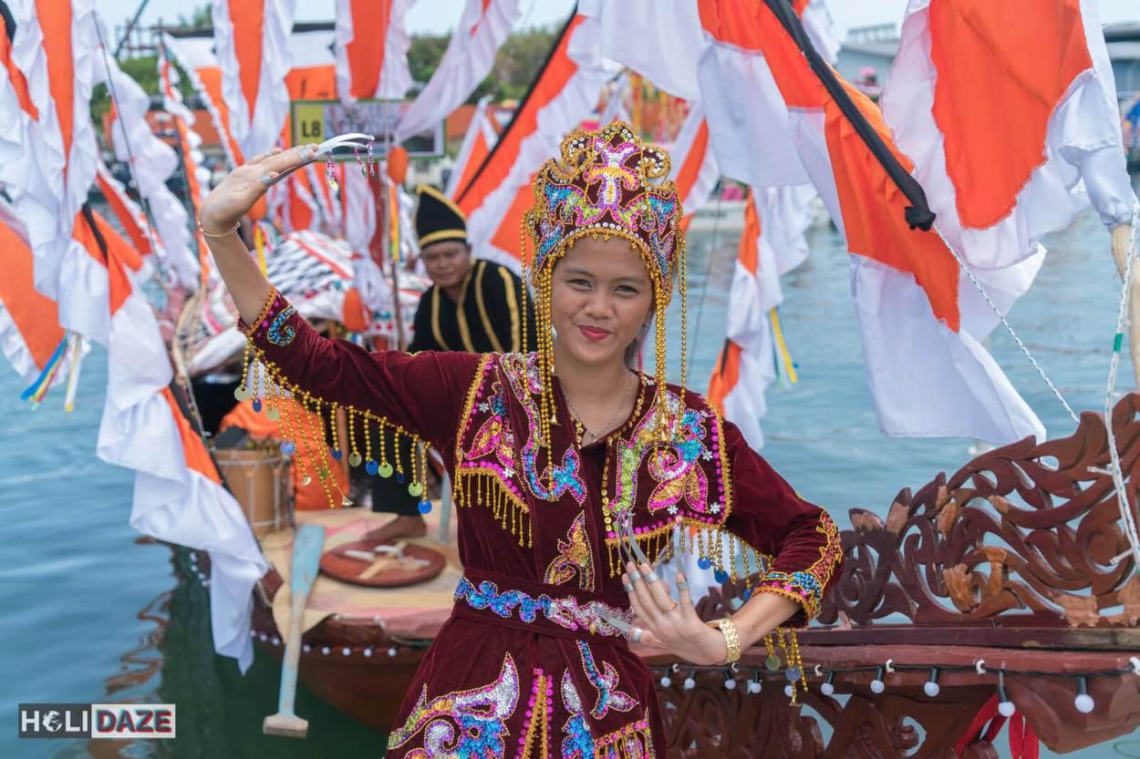 Bajau girl performing traditional dance at the Regatta Lepa festival in Semporna, Sabah