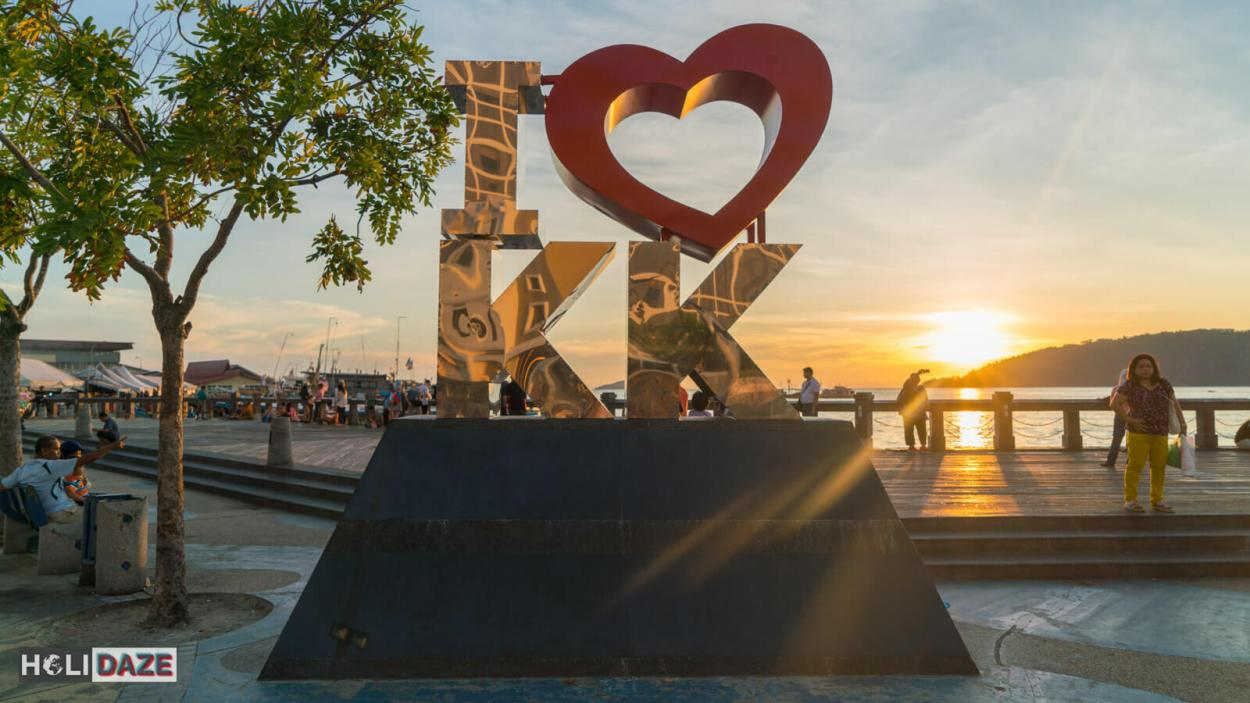 The 'I love KK' sign is one of the best places to view the sunset in Kota Kinabalu, Sabah, East Malaysia