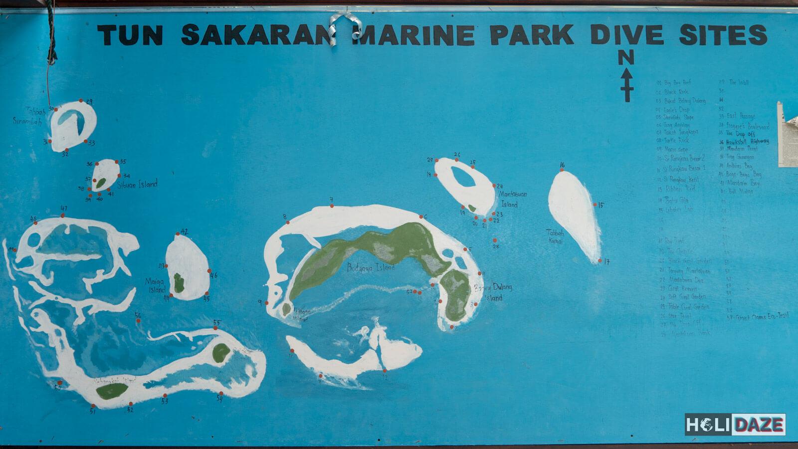 Map of scuba diving spots in Tun Sakaran Marine Park off the coast of Semporna, Sabah, Malaysia