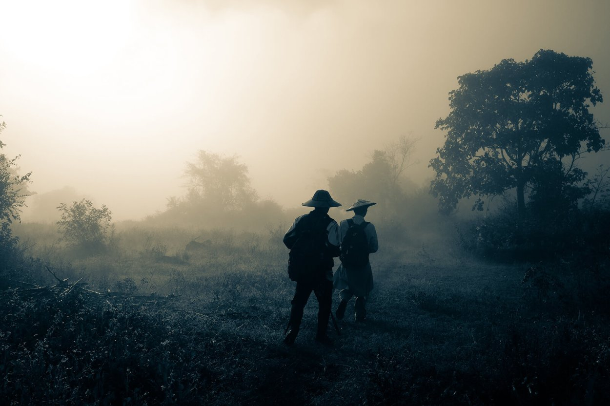Cold misty morning hike to Inle Lake, Myanmar