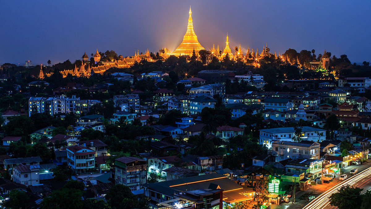 Shwedagon Pagoda in Yangon, Myanmar, also known as the Great Dagon Pagoda and the Golden Pagoda