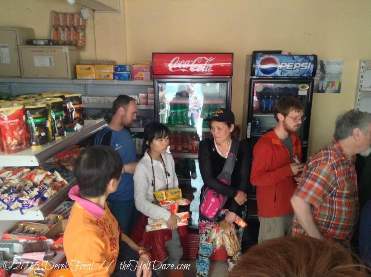 People line up for earthquake supplies in Kathmandu, Nepal