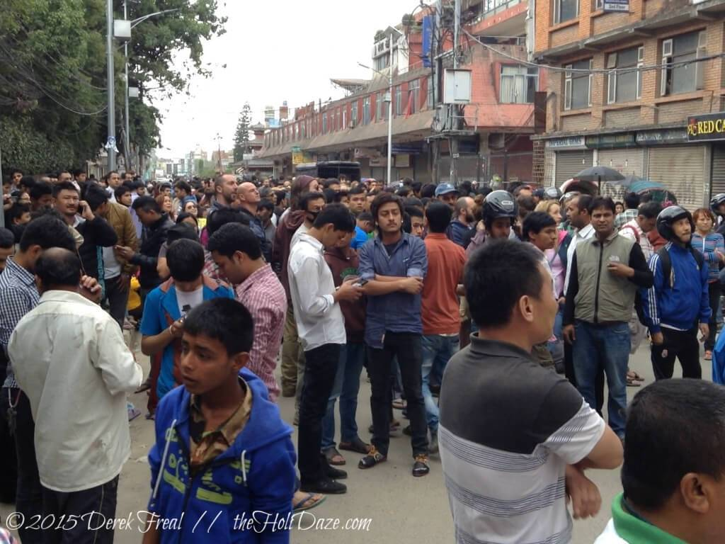 People in Kathmandu flooded to the open spaces in the minutes following the first earthquake