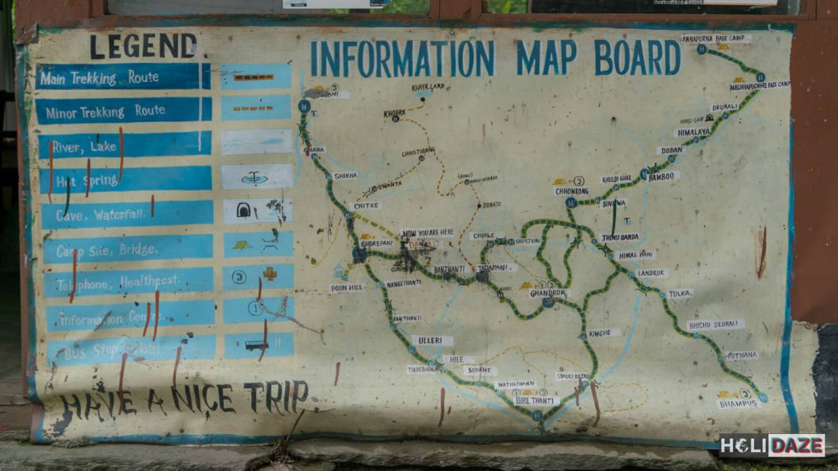 Map of Annapurna Conservation Area and the Annapurna Sanctuary in Nepal