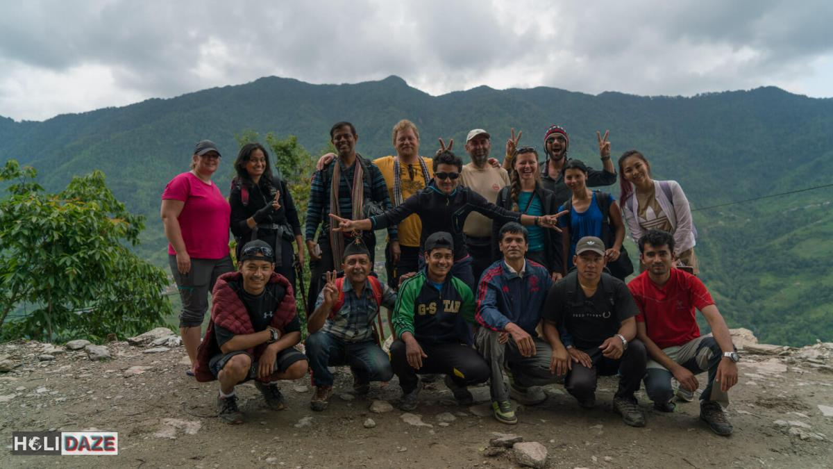 Our group and Sherpas after trekking Annapurna Conservation Area