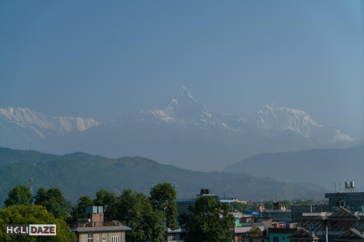 Annapurna view from the Pokhara Grand hotel in Nepal