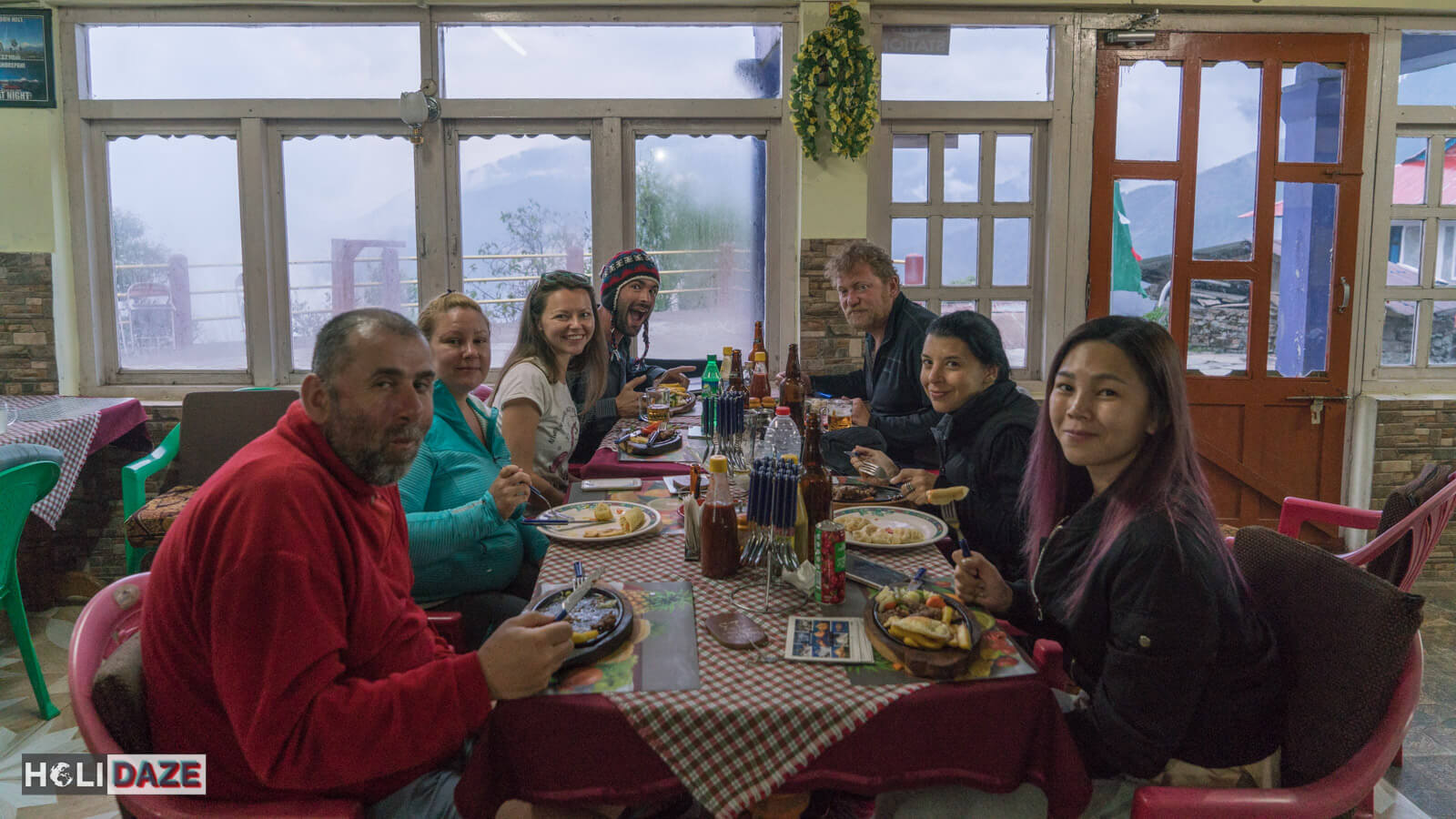 Our trekking group gathering for food and drinks at our guesthouse in Ghorepani