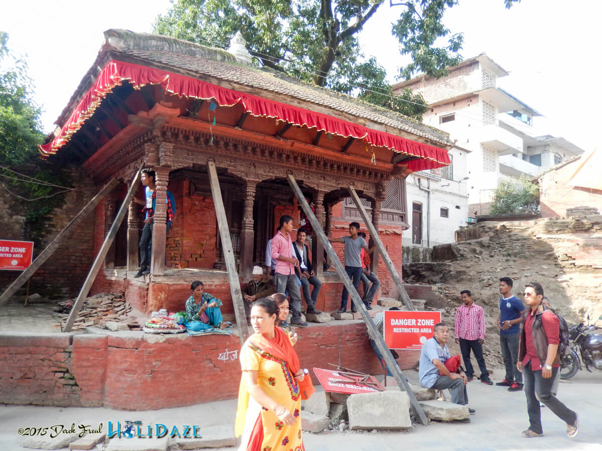 Locals preparing for the Indra Jatra festival 2015