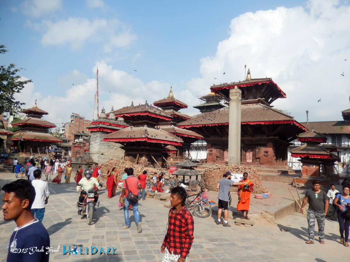 Locals prepare for the Indra Jatra festival 2015