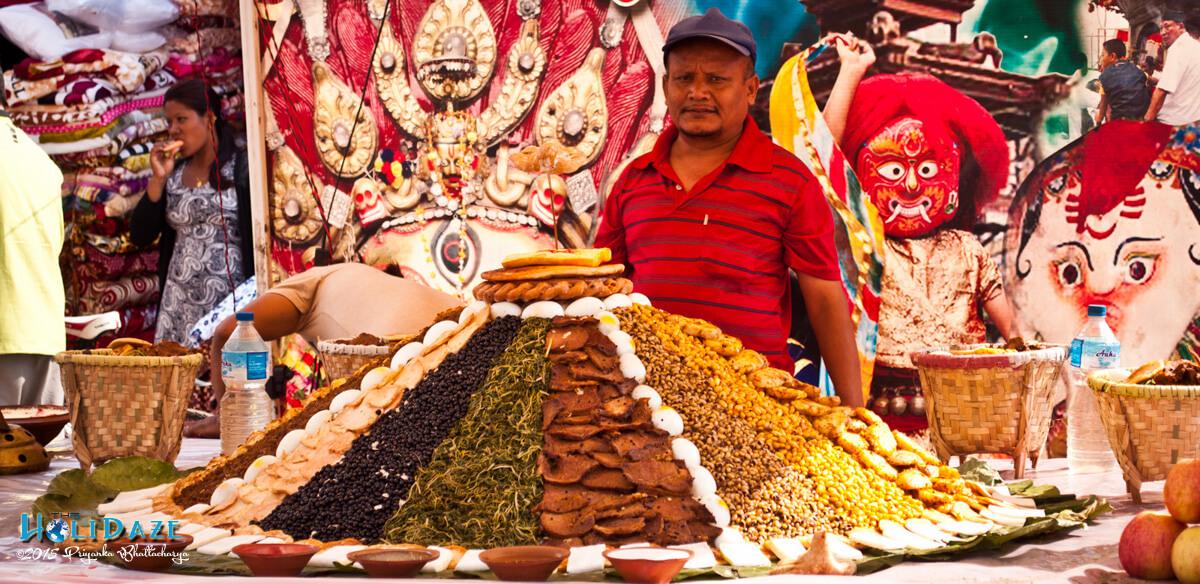 Food at the Indra Jatra festival 2015