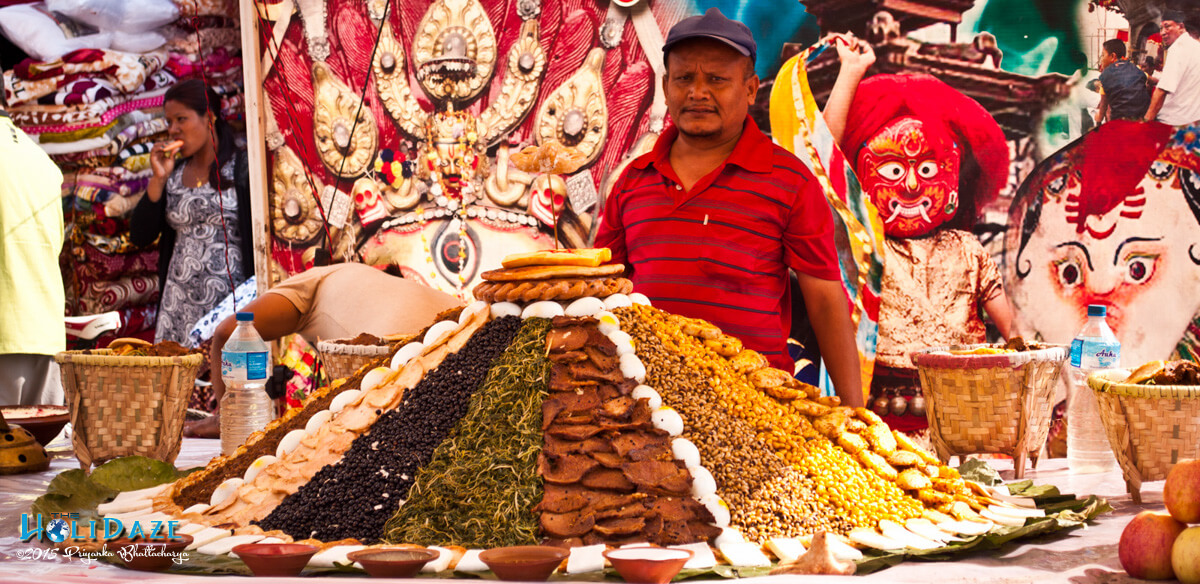 Food at the Indra Jatra festival 2015