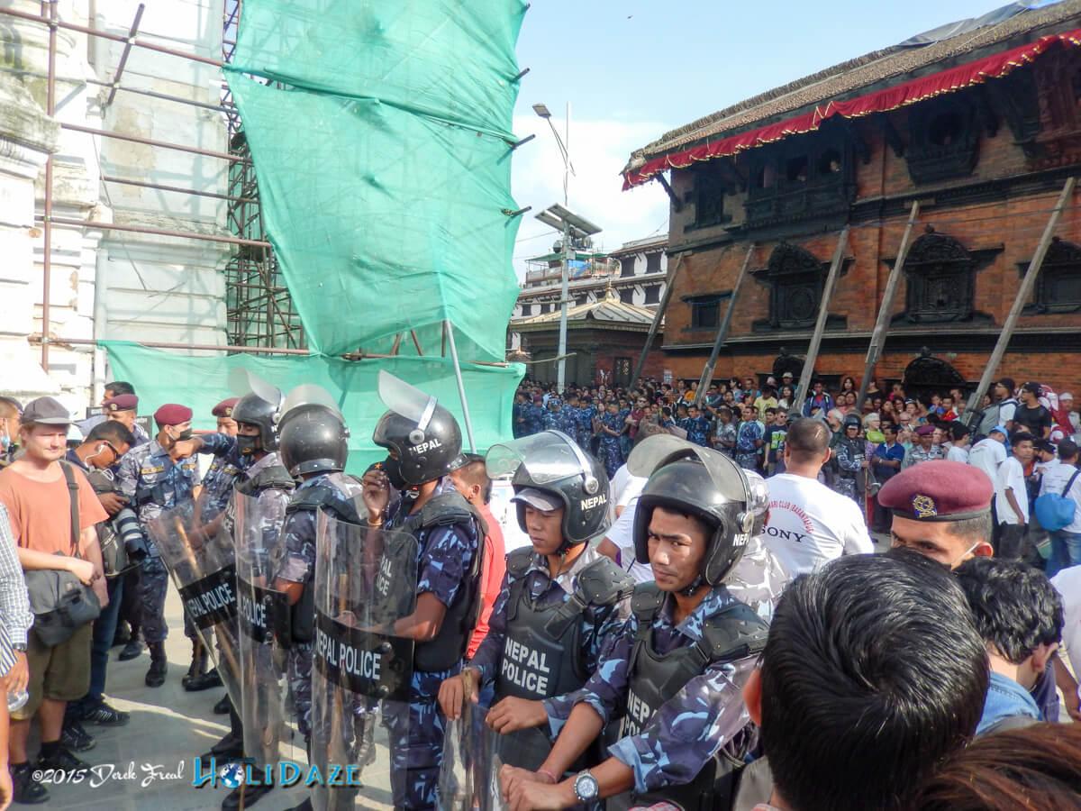 Police clear way for the kumari at the Indra Jatra festival 2015