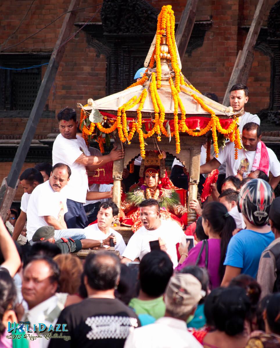 The Kumari chariot at the Indra Jatra festival 2015