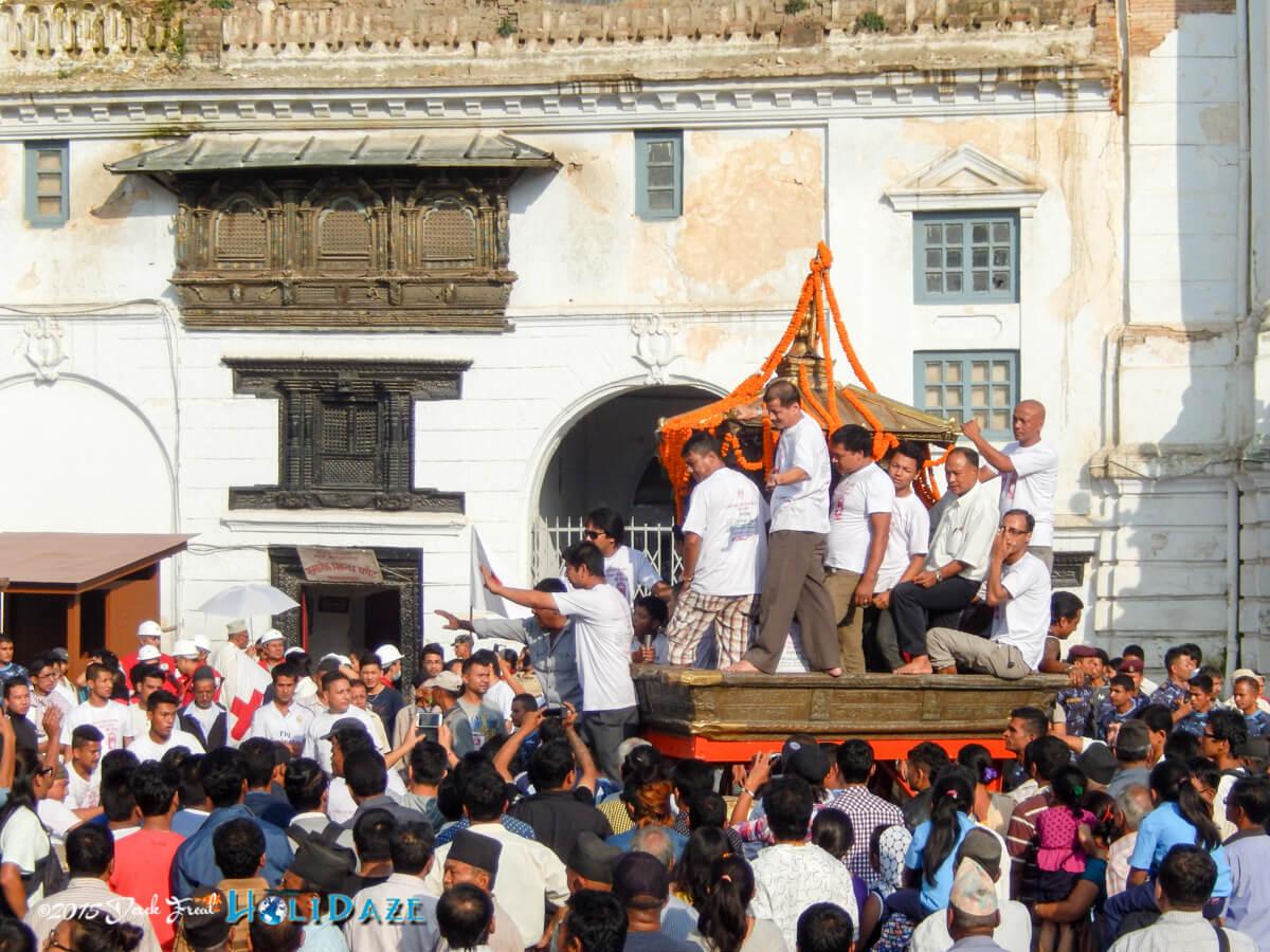 The Kumari Jatra chariot procession from Kathmandu Durbar Square at the Indra Jatra festival 2015