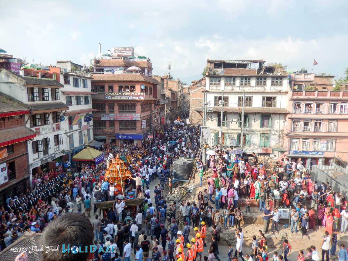 The Kumari Jatra chariot procession from Kathmandu Durbar Square at the Indra Jatra festival 2015
