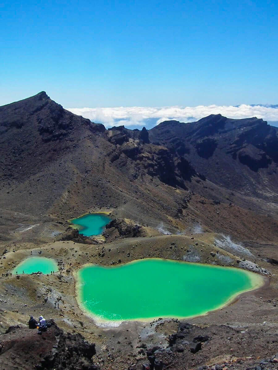 These three jewels are the Emerald Lakes of the Tongariro Alpine Crossing in New Zealand