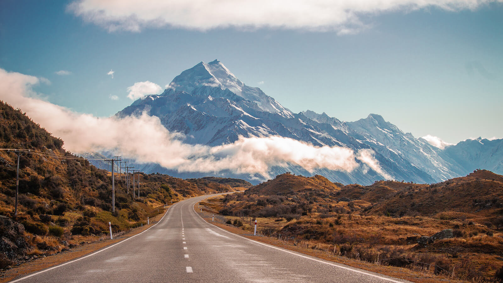 The road to Mount Cook Village, New Zealand