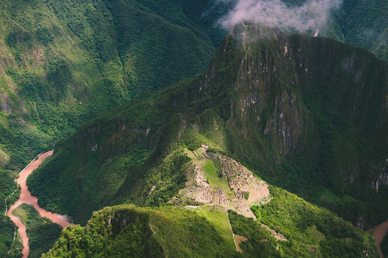 Machu Picchu Mountain in Peru offers a unique vantage point of this famous UNESCO site