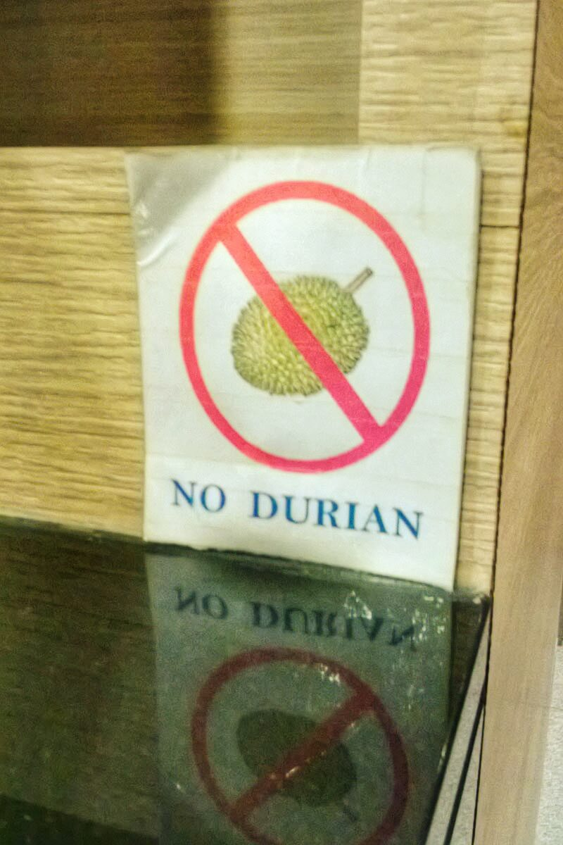 No Durian sign in Singapore
