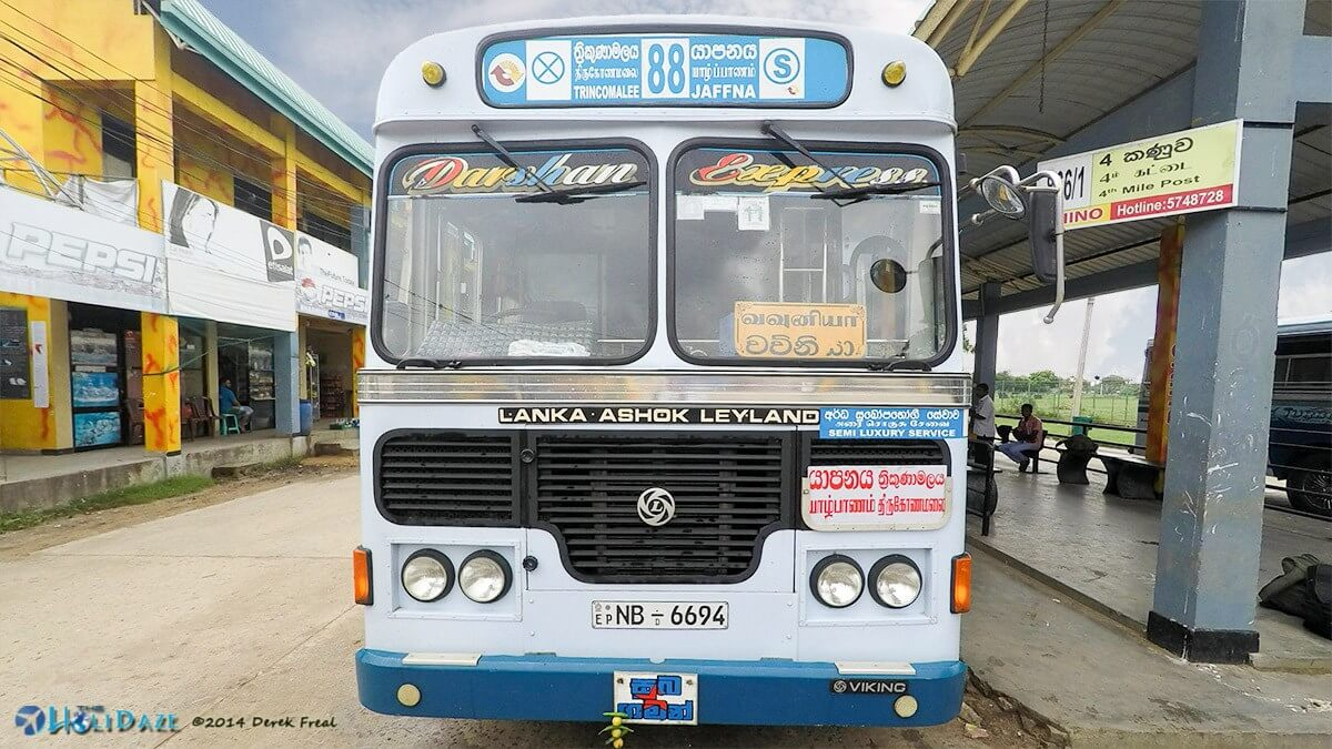 Bus from Trincomalee to Jaffna, Sri Lanka