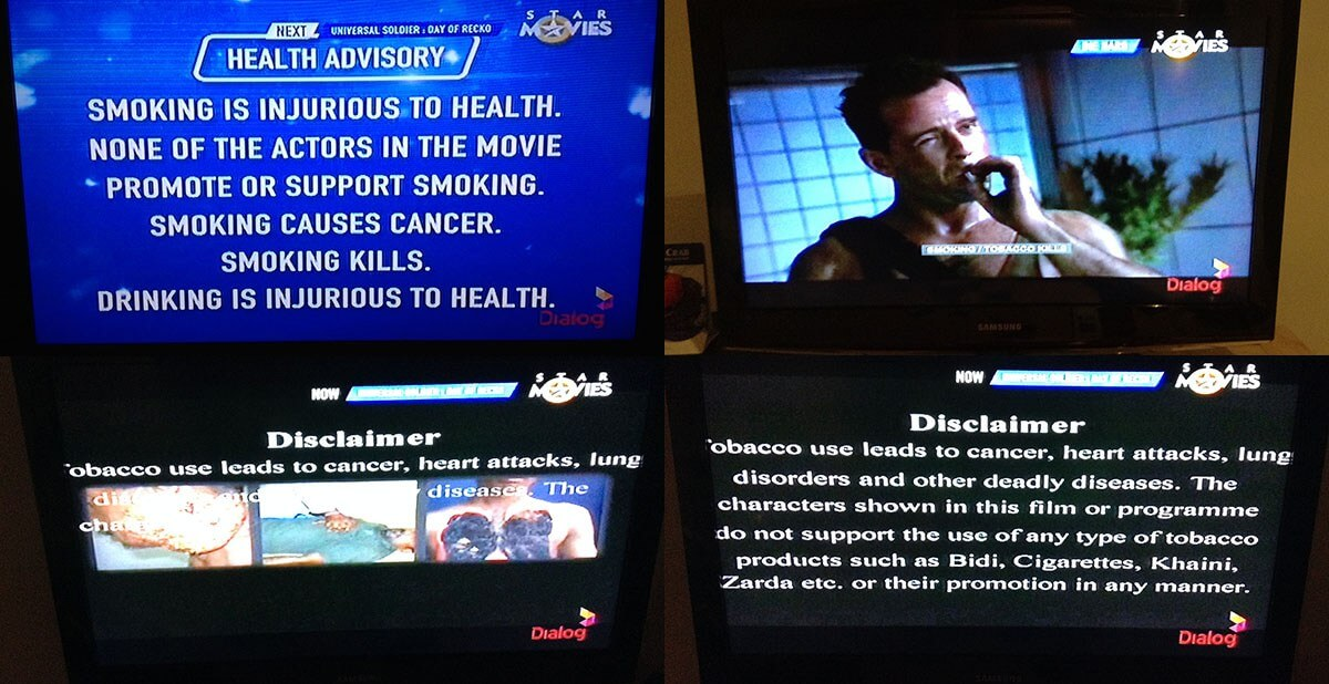 There was three separate anti-smoking advertisements that ran back to back prior to the film beginning. And then of course the text warnings anytime someone smoked or talked about cigarettes.